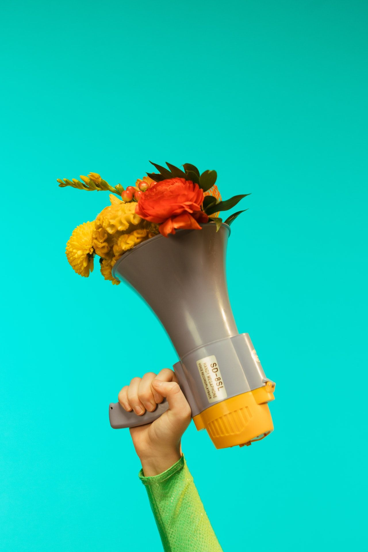 A hand holding a megaphone that has flowers sticking out of it.